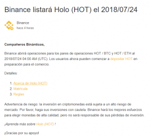 Binance listará Holo(HOT) el 24 de Julio